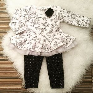 👶🏻Little Me 'quilted' lace hem sweater top 12 mo
